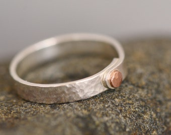 Handmade Mixed Metal Hammer Textured Narrow Thin Sterling Silver and Copper Rivet Band Ring