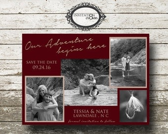 Personalized 4 Photo Save the Date Wedding Digital Download File