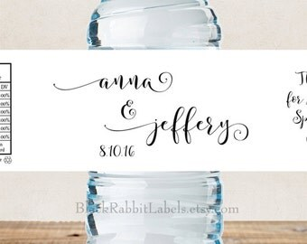 "Personalized Water Bottle Labels - 100% Waterproof - Script Font - Wedding Favors 2""x8.5"" self-stick labels - Choose Color"