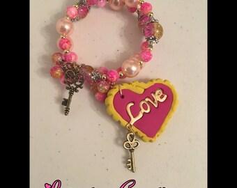 the key to my heart memory wire wrap polymer clay charm bracelet jewelry