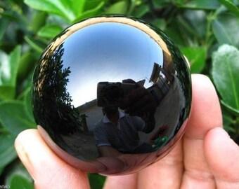 Black Obsidian Sphere ** 50 mm Volcanic Glass Specimen **