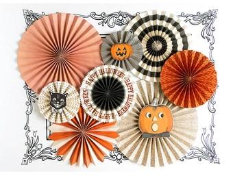 Halloween Decorations, Paper Fans, Halloween Party, Party Fans, Halloween Decor, Black Cat, Pumpkin, Vintage Halloween, Photo Backdrop