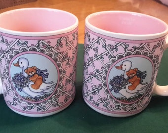"Vintage Lucy Rigg ""Thanks for the Lift"" Mug Enesco 1986 collectible, pair of mugs, pink, Swan, coffee cup, teddy bear, gift for woman, flowe"