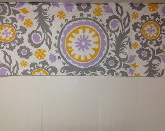 Lined shaped valance, 42W x 18H suzani, wisteria, lilac, grey white
