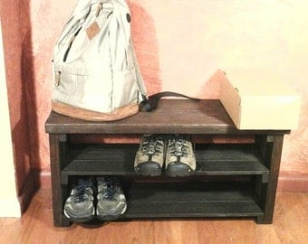 Wooden Shoe Bench, shoe rack, handmade, entry bench, entry way, wood, rustic shoe bench, rustic shelf, rustic furniture, Shoe Storage