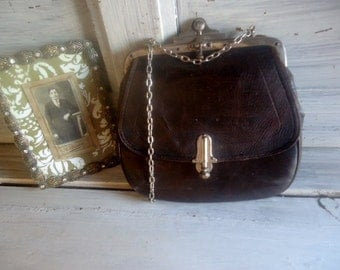 French  antique little bag 1920,brown leather purse vintage, collectible bag