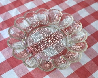 1950s Deviled Eggs Dish Hobnail Clear Glass