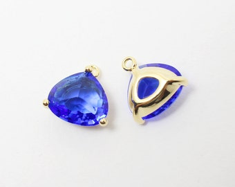 G002002/Sapphire/Gold plated over brass/Triangle bezel glass Pendant/13x13mm/2pcs