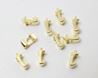 P0384/Anti-Tarnished Gold Plating Over Brass/Alphabet Script Initial Charm - T/5mm/2pcs