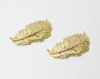 P0011/Anti-Tarnished Matt Gold plating over Brass/Sideway Feather Pendant Connector /24x 13mm/2pcs
