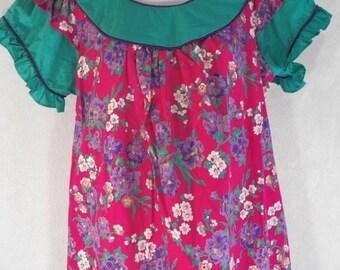 NEW M Hawaiian Almost Paradis Bright Pink Teal Floral Ruffles Muu Muu Maxi Dress