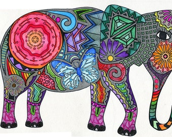 Abstract Elephant Art Print