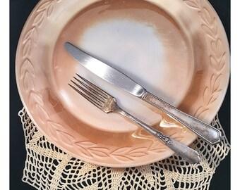 "LAST CHANCE SALE Round platter, Peach lustre, Fire King, Anchor Hocking, 11"", Laurel Leaf pattern; vintage Fire King"