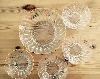Pretty Vintage Floral Glass Dessert Bowls