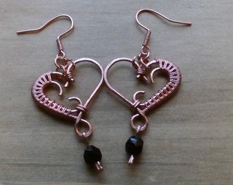 Copper wire Heart Earrings