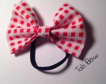 Hair bow ~ pink and red checkered