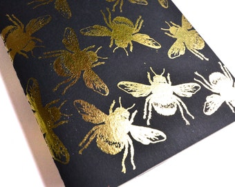 Bumble bee gold foil Moleskines, screen printed, SMALL LINED.