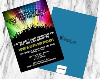 Printable-Invitation-Birthday-Dance-Groove On-Decade-Year-Party-Disco-Colorful-Custom-Black and white-Decade-Year-Music