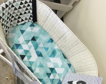 Change Pad Cover/Bassinet Fitted Sheet - Teal Watercolour Large Triangle - IN STOCK