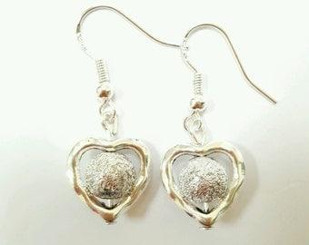 Silver Heart Earrings, Beaded Heart Earrings, Silver Heart Earrings, Heart Earrings, Dangle Earrings, Boho, Hippie, Bohemian