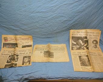 Regional Ithaca NY Newspaper Ephemera JFK Presidential Political Papers - John F. Kennedy Dwight D. Eisenhower Kennedy Assassination