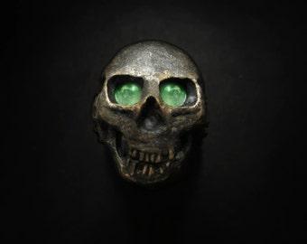 Glowing Mayan Empire Glowing Skull Ring, Gothic Jewellery, Biker Jewelry, Mens Goth Jewelry, Skull Jewelry, Biker Ring