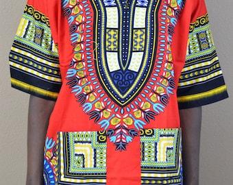 Men Handmade Red Dashiki Caftan Shirt Tribal African Top