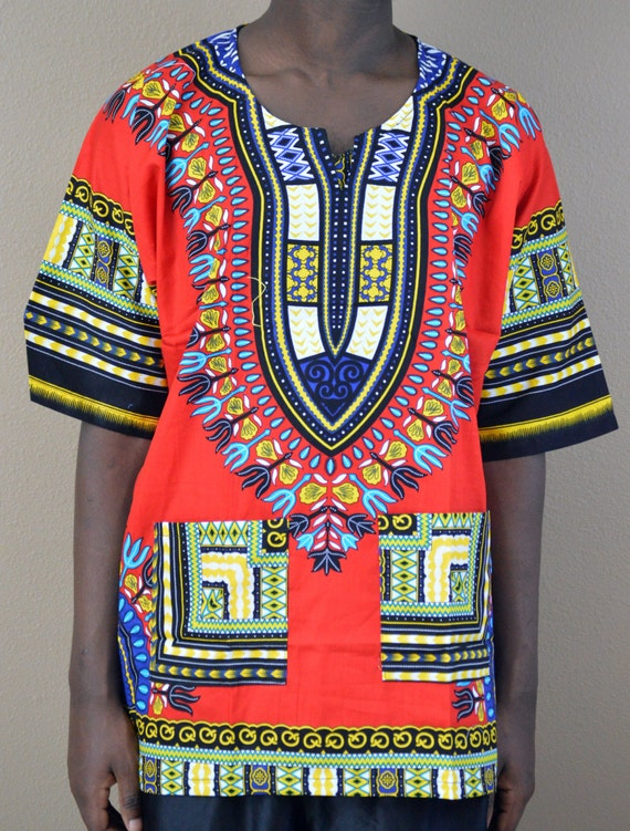 Men Handmade Red Dashiki Caftan Shirt Tribal African Top Size small