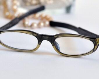 Swank France Cat Eye Glasses, Black and Gold