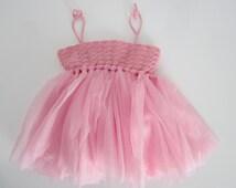 Baby girl tutu dress, 1st anniversary dress, baby girl crochet dress, pink girl dresses, anniversary outfit, crochet baby dress, little girl