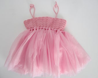 Baby girl tutu dress, 1st anniversary dress, baby girl crochet dress, pink girl dresses, anniversary outfit, crochet baby dress, little girl