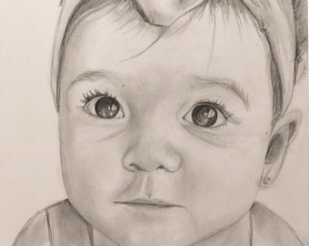 Custom pencil/watercolor sketch of child