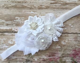 White baby headband- white headband- white newborn headband-white  vintage lace headband- white baptism headband-white christening headband-