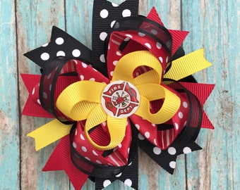 Firefighter hair bow-medium small firefighter hair bow-fireman hair bow-boutique fireman  bows-firefighter bottle cap hair bow- firefighter