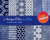 Antique Tiles Blue Digital Papers 12pcs 300dpi Instant Download Scrapbooking Printable Paper