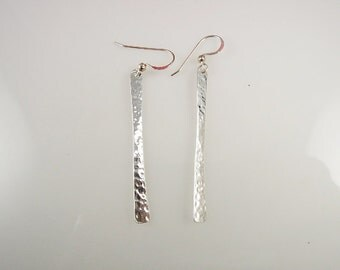 Sterling Silver-Hammered-Bar-Earrings-for her
