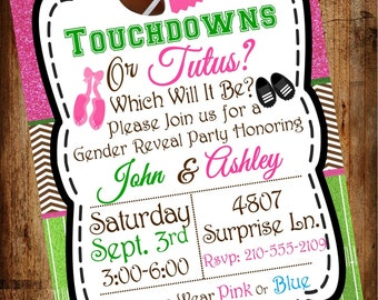 Bundle Pack- Touchdowns or Tutus (Digital File) Gender Reveal Invite, 5x7, Gender party invitations, Diaper raffle ticket,
