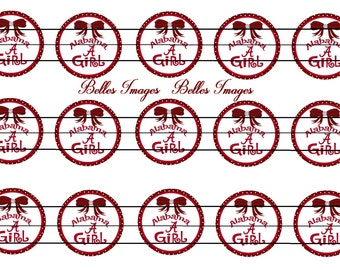 Alabama Girl Bottle Cap Images 1 inch circles