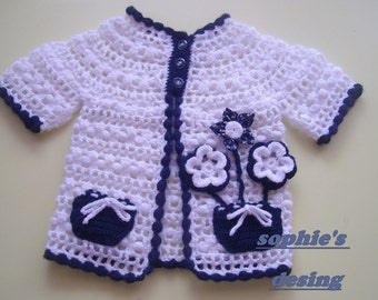 crochet short sleeves baby girl cardigan