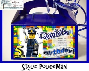 LEGO BIRTHDAY Police Motorcycle City Goody Box Favors Personalized with your childs name etc.