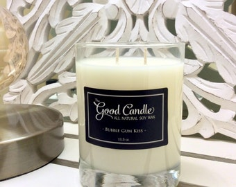 Bubble Gum Kiss - Double Wick Soy Wax Candle