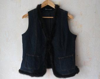Vintage Denim Vest  Fur Decoration Vest Blue Jeans Jacket VVest Vintage Denim Sleeveless Vest Fur Vest