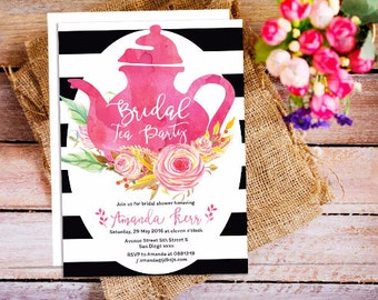 Bridal Tea Party Invitation, Tea Party, Bridal Shower, Tea Party Invitation, White and Black stripes invitation, tea party bridal hower
