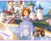 """PRINCESS SOFIA the 1st FIRST A4 11"""" X 8"""" rectangle edible personalised birthday cake topper toppers icing sheet rice paper wafer card /1"""
