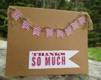 Chevron Banner Thank You card-- pomegranite