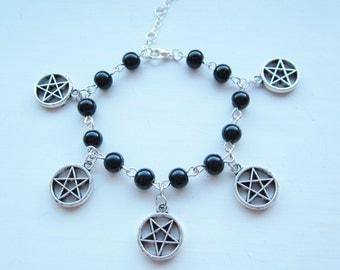 Inverted Pentagram Charm Bracelet, black beads, Satanic, Pagan