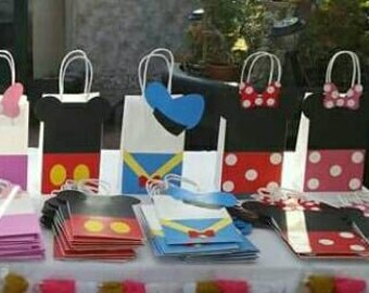 Mickey, minnie, candy bags, treat bags, pary bags, with handles