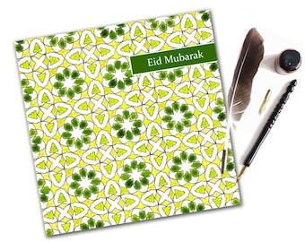 Topkapi Eid Mubarak Greeting Card Green, Islamic Cards, Eid Cards