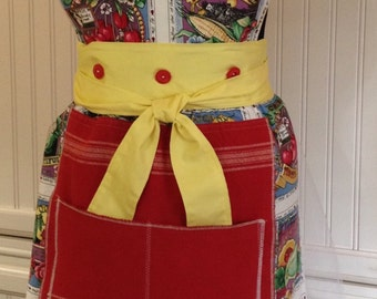 Vintage full apron shabby chic red moda towel veggie print embroidered Christmas tree button on bodice reversible