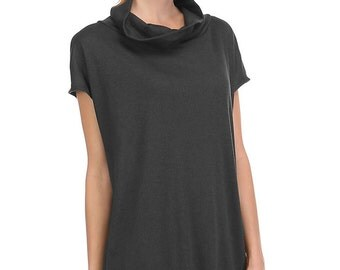 T5141 Short Sleeve Turtle Neck Loose Fit Boxy Top Tunic